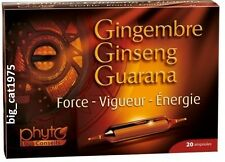 Ginseng gingembre guarana - 20 ampoules quickly restore vitality & vigor