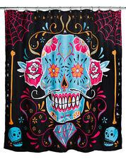 Too Fast Calavera Sugar Skull Day Of The Dead Punk Rock Skater Shower Curtain