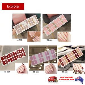 22pcs Nail Stickers Nail Wrap Self Adhesive Full Cover Nail Art Solid Colour 1