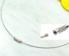 Halsreif Collier Edelstahl Seil 45 cm Messing Schraubverschluß Halskette silber