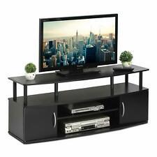 Black TV Stand 50 Wide Entertainment Room Furniture Storage With Shelves Unit