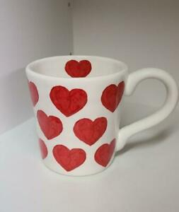 New Maxcera Large Coffee Mug Red Hearts For Valentine's Day Ceramic Love