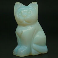 "2"" Cat Figurine Natural Gemstone Opalite Hand Carved Animal Statue Home Decor"
