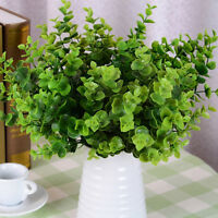 7-Branches Artificial Fake Plastic Eucalyptus Plant Flowers Office Adornment FG