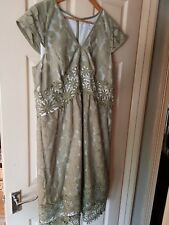 Womens Green and White Next Cap Sleeve Lace-Effect Dress. Size 18