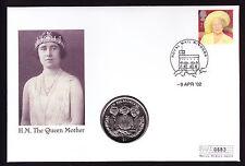 TIMBRO 2002 GB e SIERRA LEONE 1 DOLLARI MONETA sul coperchio numisbrief Memorial Regina Madre