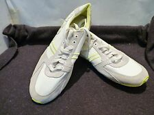 DIESEL PARABARNY WHITE/LIME CASUAL FASHION LEATHER SHOES/SNEAKERS US10