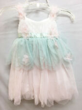 New Baby Biscotti Pink & Sea Green Layered Tulle Infant 9M Fancy Party Dress