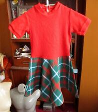 sz 5 5T true 70s Girls Acrylic Stretch Knit GREEN PLAID Zipback Party Dress