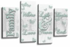 Family Love Quote Art Picture White Duck Egg Home Wall Canvas 4 Panel Split