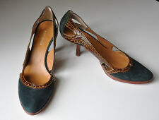 KURT GEIGER Green Suede & Chestnut Real Leather Cut-Out Court Shoes 39 6 -6.5 UK