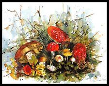 Alie Kruse-Kolk Still Life Toadstools Poster Bild Kunstdruck & Alurahmen 56x71cm