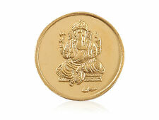 Beautiful Ganesha Pure Gold Coin In Solid Stamped 24Karat (995) Yellow Gold