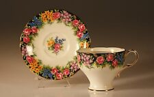 """Paragon """"Old English Garden""""  Corset Shaped Cup and Saucer, 1939 Made In England"""