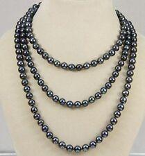 5-6mm schwarz Süßwasser-Zuchtperlen-Halskette 127cm