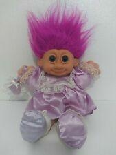 "Vintage Berrie Russ Troll 12"" Girl Purple Satin Dress Shoes Purse Plush Stuffed"