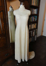 Laura Sheppherd Santa Fe Ivory Silk Bridal Gown Crystal Beads Short Train 10/M