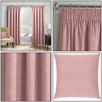 "Blush Pink Thermal Matrix Blockout Lined 3"" Tape Top Pencil Pleat Curtains Pair"