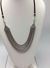 $39.50 Lucky Brand Multi Chain Silver Tone & Leather Necklace #L95