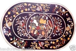 """24""""x30"""" Black Marble Coffee Table Top Marqueatry Floral Inlaid Art Home Decorate"""