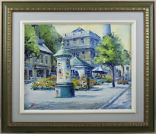 Noel Hollier Canadian Listed Vintage 1974 Oil/Panel Streetscape Montreal Quebec