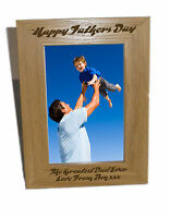 Happy Fathers Day Wooden Photo Frame 4x6 - Personalise this frame - Free Engrav