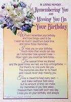 Memorial Grave Card MISSING YOU ON YOUR BIRTHDAY Loving Memory Remember Keepsake
