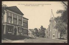 POSTCARD Marlboro, MA High Scool & Church 1920's