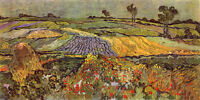 Oil painting Vincent Van Gogh - Spring field landscape with flowers hand painted