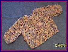 Pink-Blue-Yellow-Purple Hand-Crocheted Handmade Baby Sweater 0-6 mo