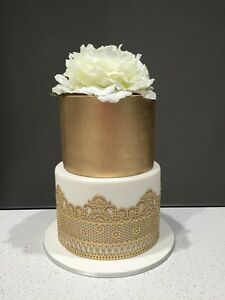 EDIBLE SUGAR 3 LARGE GOLD LACES CAKE CUPCAKE BIRTHDAY ANNIVERSARY ENGAGEMENT