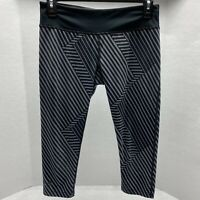 Under Armour Black & Gray Striped Cropped Leggings Size Small