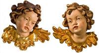 Coppia Teste Di Putto da Parete In Legno - Couble PuttoHead  Wood-Carved Angel
