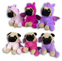 20cm Cuddly Toy Plush Pug In Unicorn Costume Outfit Pink, Hot Pink Or Purple