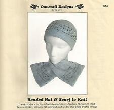 Beaded Hat & Scarf to Knit Knitting Instruction Pattern Dovetail Designs New