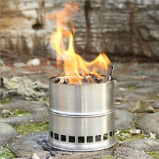 Outdoor Camping Hiking BBQ Picnic Cooking Stainless Steel Alcohol Wood Stove New