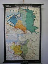 Schulwandkarte alte Wandkarte Teilung Polen-Litauen mapa Polska 136x215 1961