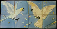 8 Art Nouveau tiles C1900, Gilliot & Cie Parrot and Cockatoo Antique RARE