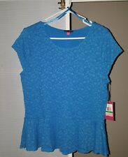 Vince Camuto - Lace Peplum short sleeved top - Malibu Blue