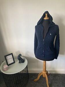 Ralph Lauren Sport Knit Zip Up Hoodie Jumper Size M (UK 10-12) in Navy Blue