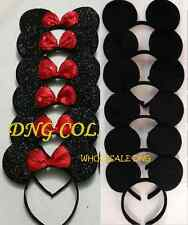 4 MINNIE MICKEY SOLID S BLACK & RED SEQUIN BOW EAR HEADBANDS BIRTHDAY FAVORS