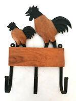 Vtg Rustic Rooster Wood Metal Wall Hanger Coat Hook Hanging Hat Rack Farmhouse