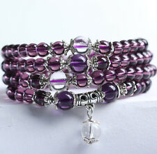 New 6mm Amethyst Mala Bracelet Necklace Buddhist meditation 108 Prayer Beads