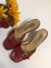 BRIGHTON Womens Red Croc Leather Slip Ons Sandals Heels Italy Size 6