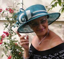 Sombrero Mujer Turquesa Blanco Crema para Eventos Boda Carreras de Caballos