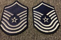 1 PAIR 2 PATCHES 1976-1993 USAF Air Force Rank Patch SENIOR MASTER SERGEANT E-8