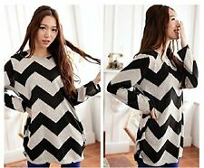 New Womens Long Sleeve Grew Neck Loose Knitted Sweater Ladies Casual Jumper Tops