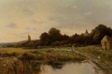 LISTED Gustave de Breanski Figures Near Pond Large Old Antique Oil Painting NR
