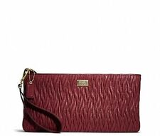 NWT COACH MADISON GATHERED TWIST LEATHER CLUTCH WRISTLET BRICK RED 49721