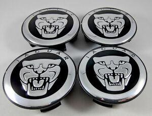 4PCS Jaguar Center Wheel Hub Caps 59MM Black/Chrome S-type X-Type XJR